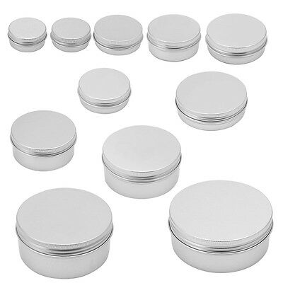 10ML-200ML Durable Aluminum Cosmetic Pot Lip Balm Jar Containers Oil Wax Empty