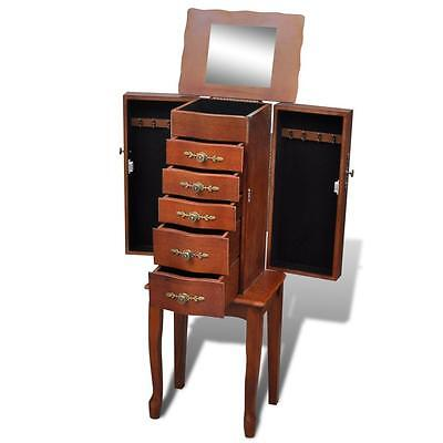 Bedroom Fold-Out Jewellery Box Armoire Organiser Storage Drawer Mirror Cabinet