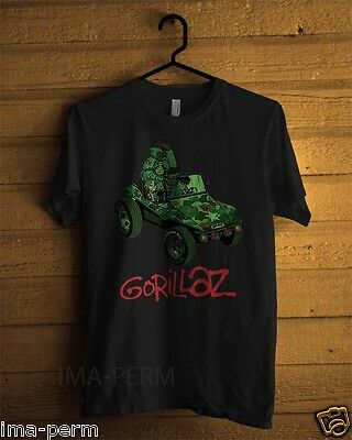 Gorillaz Geep Jeep Black T-shirt for Man Size S-2XL #