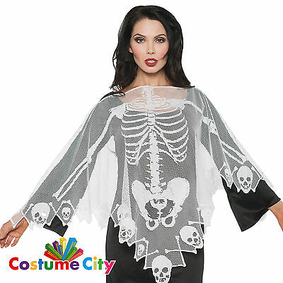 Adults Womens Elegant Skeleton Lace Cape Poncho Halloween Fancy Dress Accessory