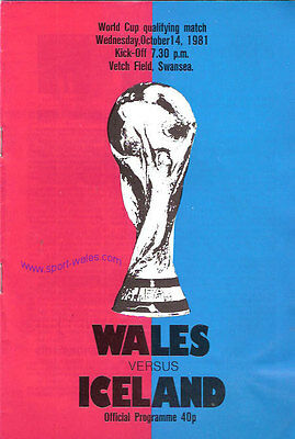 Wales v Iceland - World Cup Qualifier 14 Oct 1981  Swansea FOOTBALL PROGRAMME