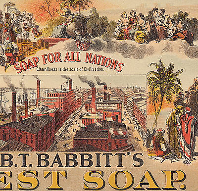 Columbia Patriotic Babbitts Soap for All Nations ethnic Factory Advertising Card