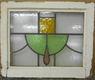 "OLD ENGLISH LEADED STAINED GLASS WINDOW Geometric Swag 20.5"" x 16.75"""