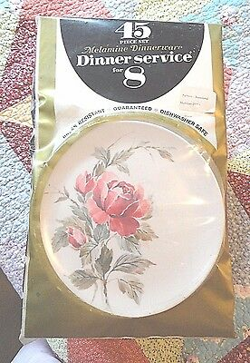 """Vintage Factory Packaged Melamine Set for Eight :Roseland"""" Pattern 45 Pieces"""