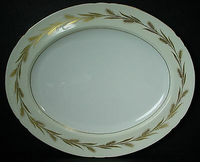 SHELLEY china GOLDEN HARVEST 13685 pattern OVAL MEAT Serving PLATTER 14-3/4""