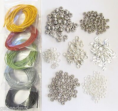 Waxed Cord Jewellery Making Findings Kit Necklaces & Bracelets Christmas 007