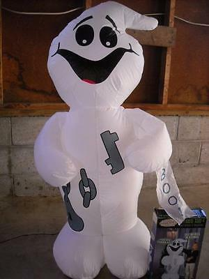 Gemmy 4' Inflatable Ghost, Indoor Or Covered Porch Use, Weighted Bottom In Box