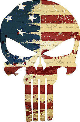 Punisher Skull Vintage American Flag window decal - Various sizes Free Ship