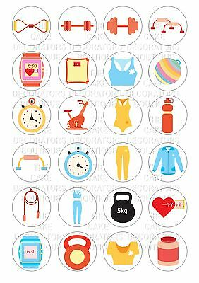 24 Fitness Exercise Gym Wafer / Rice Paper Cupcake Topper Edible Fairy Cake Bun