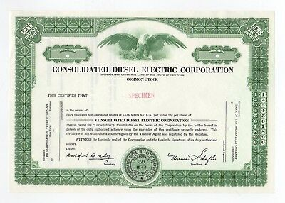 SPECIMEN - Consolidated Diesel Electric Corporation Stock Certificate