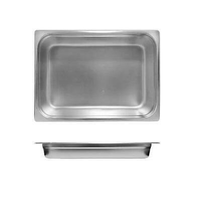 3x Bain Marie Tray / Steam Pan / Gastronorm 1/2 Size 65mm Deep, Stainless Steel