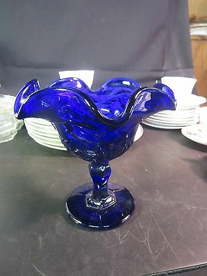 "Cobalt Blue 6"" Compote Floral Pattern Pressed Glass"