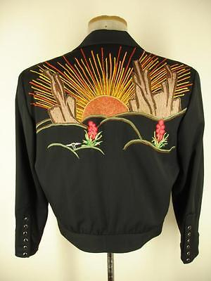 Manuel Randy Travis Black Western Snap Embroidered Rockabilly Jacket Blazer S M