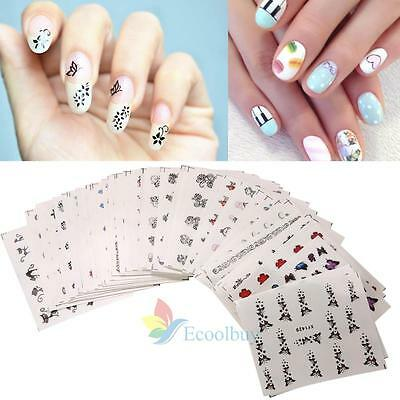 50pcs Mixed Decal Water Transfer Manicure Nail Art Stickers DIY Tips Decoration#