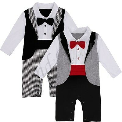 Baby Boy Bow Tie Romper Tuxedo Bodysuit Christening Wedding Babygrow Outfit