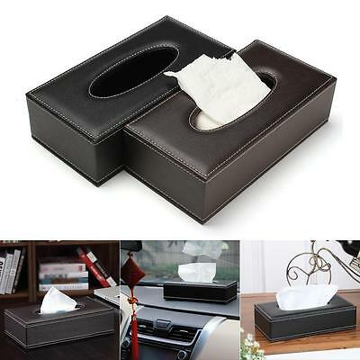 Durable Home Car Rectangle PU Leather Tissue Box Cover Napkin Paper Holder hv2n