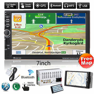 """GPS Nav 7"""" Double 2DIN Touch Car Stereo Radio MP3 Player Bluetooth USB/TF/FM+Map"""