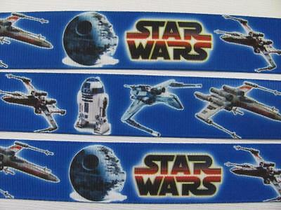 "BB Ribbon STAR WARS ON BLUE 1m grosgrain 7/8"" 22mm fighters droids"