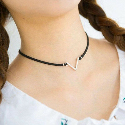 Women Punk Jewelry Gold Silver V-Shape Clavicle Necklace Collars Short Choker