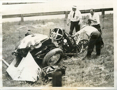 vintage photo Indianapolis race car accident killed driver Weatherly auto 1935