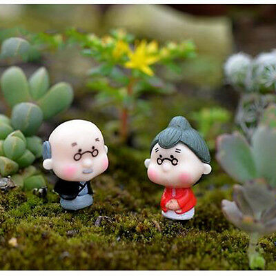 2Pcs Miniature Old Granny Grandpa Christmas Resin Fairy Home Garden Craft Décors