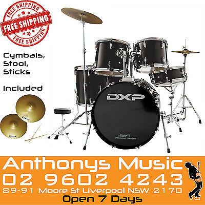 DXP Drum Kit Black 5 Piece Pioneer Series Cymbals, Stool & Sticks Included