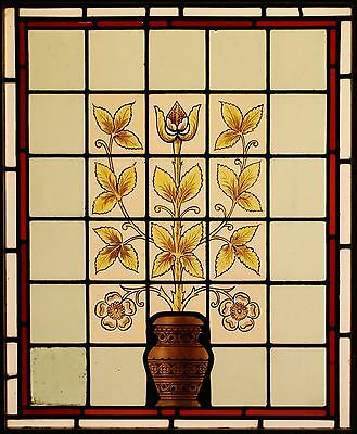 Antique Leaded Hand Painted STAINED GLASS Window - We Can Ship Worldwide
