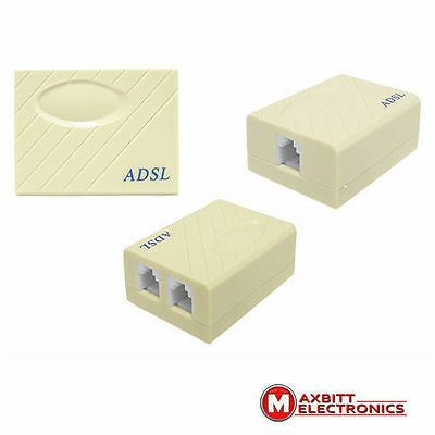 1 to 2 ADSL Broadband Modem Phone Line Splitter Filter RJ11 45