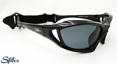 SeaSpecs Polarized Stealth Black Water Sport Sunglasses with FREE CASE