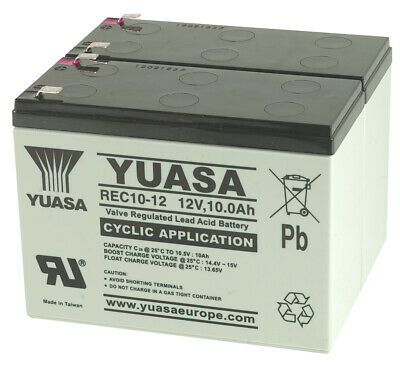 Yuasa REC10-12 12V 10Ah Pair Mobility Scooter Lead Acid Batteries For Shoprider