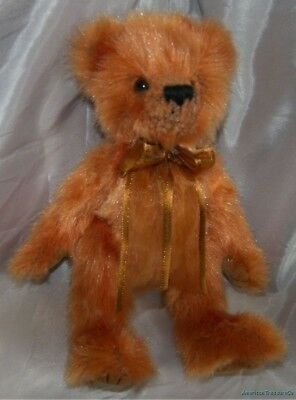 "Retro 1993 TY ATTIC Plush Jointed 9"" Shaggy COPPERY ORANGE CLAY The BEAR w/Bow"