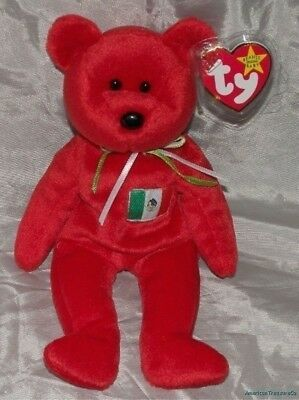 """NEW 1999 TY Beanie Baby Plush 9"""" Scarlet Red OSITO The BEAR w/MEXICO Flag Patch"""