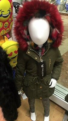 Tots, Kids Khaki Hooded  Parka Coat With Fur,  Fully Lined  Age 4 To 15