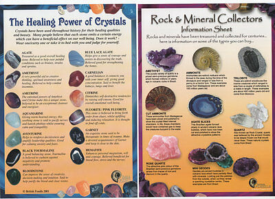 Healing Crystals Or Rock And Mineral Laminated Illustrated Information Card