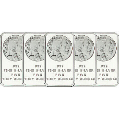 AMERICAN BUFFALO 5 OZ QTY OF 5 - 5 OZ .999 FINE SILVER BARS (25oz)