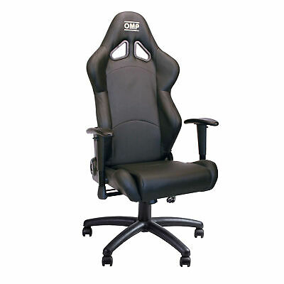 OMP Racing Seat Office Work Chair - Faux Leather Black HA/777E/NN
