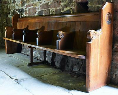 Matching PAIR of superb Victorian heavy oak church pew choir stalls, 5-seater