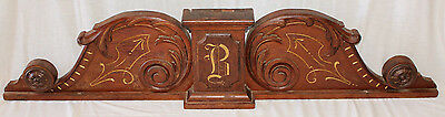 "Walnut Crest Pediment Architectural Decorative Antique, Letter ""B"", 1890's"