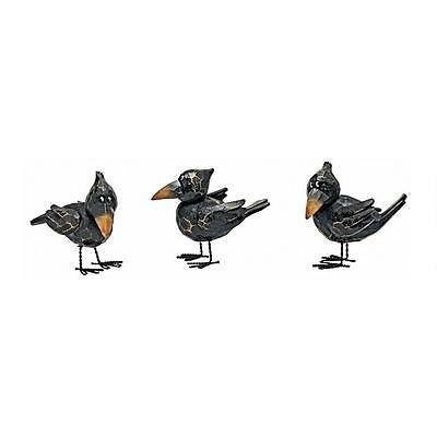 Small Raven Bird Statue Animal Figurine Sculpture Halloween Gothic Decor Art