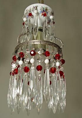 "VINTAGE 6""x10"" Red/White BEAD Czech. Bohemian GLASS Red OVERLAY CHANDELIER"