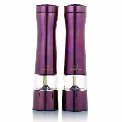 Wolfgang Puck Stainless Steel Battery Power Grinding Mills Adjustable 2 Pack