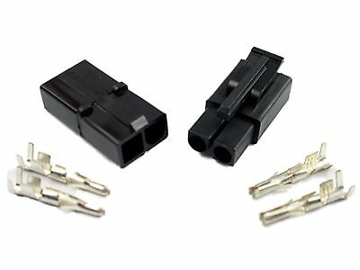 Battery Charger Connector Set (M & F) + Terminals (Accumate Compatible) BLACK