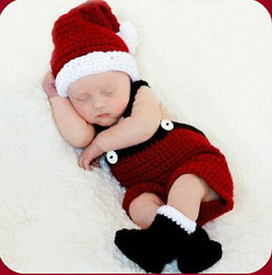 Handmade Newborn Baby Boys Christmas Costume for Photo Photography Prop Outfits