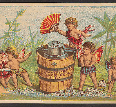 1870's American Gem Ice Cream Maker Freezer Machine fairy Advertising Trade Card