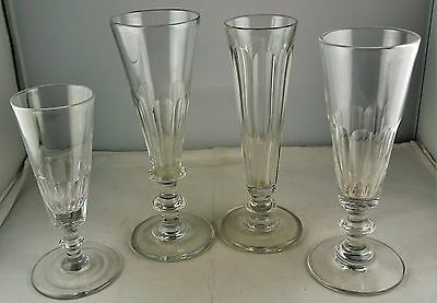 Four Antique Blown Champagne Glasses - Knob Stems - Various Sizes