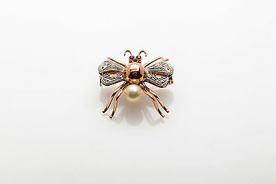 Antique 1940s RETRO 18k Rose Gold Platinum 6mm Pearl Ruby BEE FLY BUG Pin