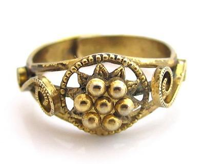 Antique Victorian Cannetille Flower Style Adjustable Gold Toned Ring*size8 +/-*d