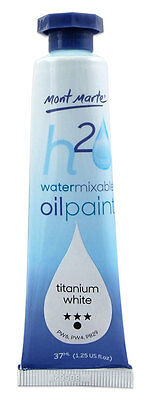 Mont Marte H2O Water Mixable - Water Soluble Oil Paint 37ml - Titanium White