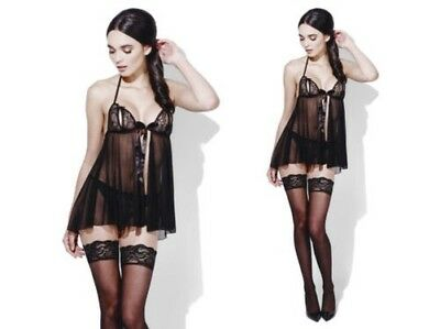 Black Baby Doll Secret Wish Ladies Lingerie Bedroom Outfit + Thong Size 8 - 22
