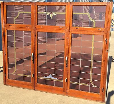 Massive 7' Antique Stained Glass Window, Bottom Side Windows Can Be Opened